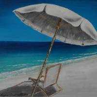 White Umbrella and Lounger Art Prints & Posters by Wayne Cantrell