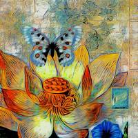Artistic flower and butterfly