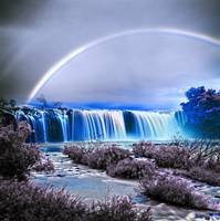 Art - Rainbow over the waterfall infrared