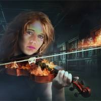 Violin on Fire Art Prints & Posters by Ronel Broderick