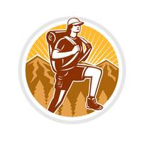Female Hiker Hiking Mountain Circle Retro