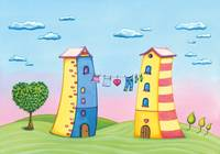 Cartoon houses with love tree
