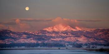 Panorama Scenic Landscape Rocky Mountain Moon Set