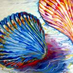 """SEASHELLS ABSTRACT"" by MBaldwinFineArt2006"