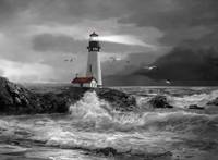Seascape with Yaquina lighthouse in black and whit