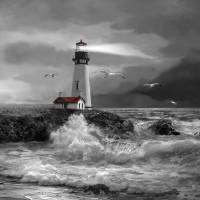 Seascape with Yaquina lighthouse in black and whit Art Prints & Posters by Gina Femrite