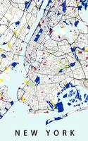 Map of New York in the style of Piet Mondrian