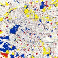 Paris Piet Mondrian Style City Street Map Art