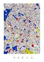 Paris L Piet Mondrian Style City Street Map Art