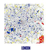 London L Piet Mondrian Style City Street Map Art