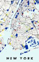 Map of New York in the style of Piet Mondrian 2