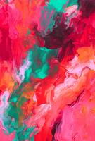 Hot Pink andTeal Palette Knife Painting