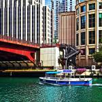 """Chicago IL - Water Taxi by Columbus Drive Bridge"" by susansartgallery"