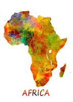 Africa map watercolor