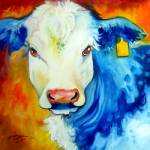 """BLUE BULL YELLOW TAG"" by MBaldwinFineArt2006"