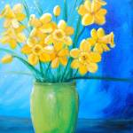"""Daffodils in Green Vase"" by ckjonesart"