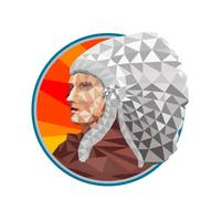 Native American Indian Chief Warrior Low Polygon