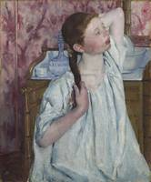 MARY CASSATT, 1844 - 1926, GIRL ARRANGING HER HAIR