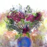 """""""Burgundy Floral in a Blue Vase"""" by JessieLee72"""