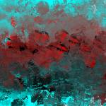 """Cool Aqua and Red Abstract"" by JessieLee72"