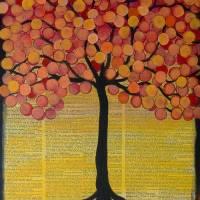 Happy Tree in Orange Art Prints & Posters by Lee Owenby