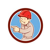 Builder Construction Worker Pointing Circle Cartoo