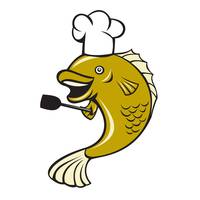 Cook Chef Largemouth Bass Fish Spatula Cartoon