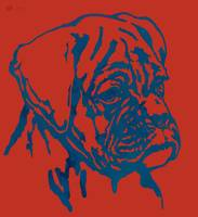 Dog stylised pop modern etching art portrait