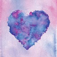 Watercolor painting of a colorful heart.