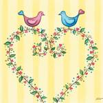 """Love birds with heart wreath."" by nopiepan"
