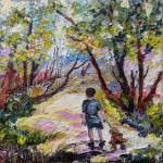 """Walk in The Forest with his Dog Oil Painting"" by GinetteCallaway"