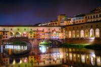 Arno River Night Reflections at Ponte Vecchio