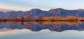 Flatirons Sunrise Reflections Panorama Boulder Co