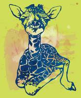 Giraffe - stylised pop modern etching art portrait