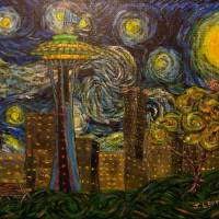 """Dedication to Van Gogh: Seattle Starry Night"" by jacklepper"