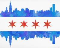 Chicago Flag Watercolor