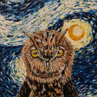 Starry Night Owl Art Prints & Posters by Wayne Cantrell