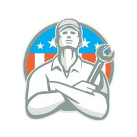 Mechanic Arms Crossed Wrench USA Flag Retro
