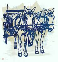 Horse Carriage - Stylised Pop Modern Etching Art P