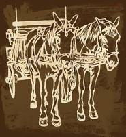Horse Carriage - Stylised Pop Modern Etching Art