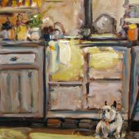 Puppy in my Kitchen Art Prints & Posters by Susan E Jones