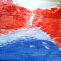 Red Trees Reflections #3 Art Prints & Posters by Louise Knapper