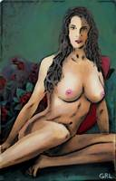 ORIGINAL FINE ART FEMALE NUDE JEAN SITTING