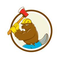 Beaver Lumberjack Wielding Ax Circle Cartoon