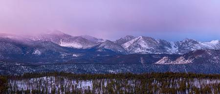 Colorado Rocky Mountain Peaks Sunrise Panorama Pt1