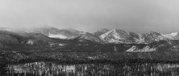 Colorado Rocky Mountain Peaks Panorama BW Pt1