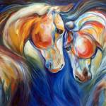 """HEART TWINS EQUINE copyright M Baldwin 2014"" by MBaldwinFineArt2006"