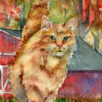 Ginger Tabby Cat Art | Redford Art Prints & Posters by Miriam Schulman