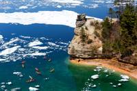 Kayaks and Ice Floes at Miners Castle - Pictured R