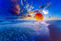 red blue ocean sunset fantasy moon